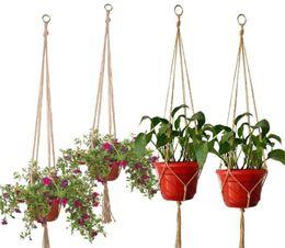 Piante in vaso da patio online-Nuovo Patio canapa intrecciata corda gancio Pot Green Plant Flower Pot Hanging corda cestino a mano Weave