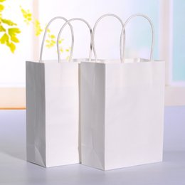 Wholesale White Kraft Paper Bags Wholesale - 20pcs lot White kraft paper bag with handle Wedding Party Favor Paper Gift Bags 21*15*8cm