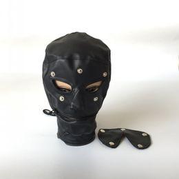 Wholesale leather face mask sex - Hot Sex Product New BDSM Bondage Leather Hood for Adult Play Games Full Masks Fetish Face Locking Blindfold for Sex