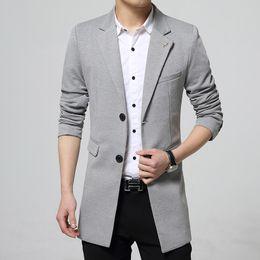 2019 costume rouge gris Hommes Printemps Automne Single Breasted Long Blazers Manteau Veste Costumes Couleur Unie noir gris rouge Korean Casual Slim Fit Blazer Hommes promotion costume rouge gris