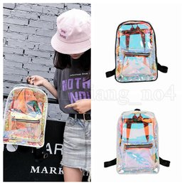 Wholesale woman beach jelly bags - Women Hologram Laser Backpack Holographic School Bag Waterproof Beach Travel Laser Shining Jelly Shoulder Bags 30pcs OOA5212