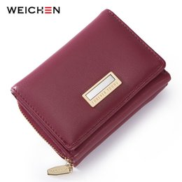 fdd11a28d9f95 WEICHEN Brand Design Trifold Small Wallet Women Many Departments Female  Wallets Ladies Short Purse Slim Carteira High Quality