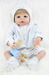 Wholesale Real Full Silicone Dolls - 55cm Full Body Silicone Reborn Boy Baby Like Real Doll Toys 22inch Newborn Boy Babies Dolls Girl Birthday Gift Kids Bathe Toy
