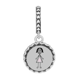 joyas de plata Rebajas Se adapta a Pandora Pulsera Charms Plata 925 Joyería Mamá Stick Figure Dangle Charm Granos del esmalte mezclado para la fabricación de joyas