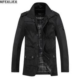 Wholesale Trench Coat Men 4xl - MFERLIER Winter men casual jackets coat fleece thick trench waterproof plus size 5XL male black jacket Windbreaker zipper parkas
