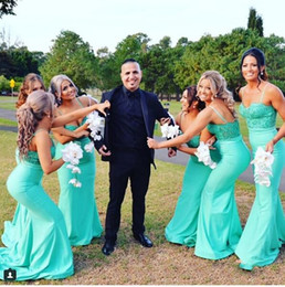 Wholesale Modest Turquoise Dresses - 2018 Newest Sexy Spaghetti Strps Lace Top Turquoise Cheap Modest Custom Plus Size Satin Bridesmaid Dresses Mermaid