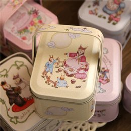 Wholesale Peters Rabbit - 2016New Hand-painted illustrations Peter Rabbit Tote Tin Box Jewelry Box Storage Case Iron Candy Container Gift