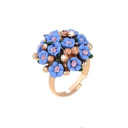 Wholesale fashion adjustable rings - SHUANGR Fashion Beautiful Ceramic Flower Ring for Women Adjustable Wedding Rings Jewelry 7 Colors Summer Style Rings