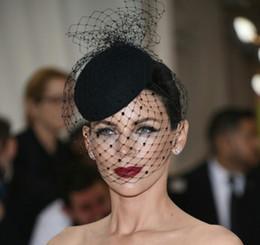 Wholesale Chapéus De Noiva De Casamento E Fascinators headpiece festa Chapéu corsage Elegante preto bridcage partido acessórios para o cabelo Pequeno chapéu