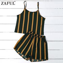 9c3682a754 2019 conjuntos sexy de cami Zaful mulheres ternos preto e amarelo listrado  cami tops com calções