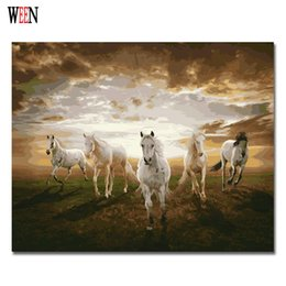 Wholesale Horse Abstract Wall Oil Paintings - Five Horses Oil Painting Coloring By Number Home Decor DIY Hand Painted Wall Pictures By Numbers Canvas Art Poster Quadros