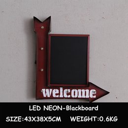 Wholesale Metal Blackboard - LED Neon Light Blackboard Vintage Metal Plates Wall Hanging Decorative Advertising Signboard for Restaurant Pub Bar Cafe Shop