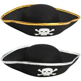 Piratas caribe ropa online-Capitán Pirata Sombrero Accesorios de Halloween Juguetes para Niños Adultos Accesorios de Ropa Gorra de Piratas del Caribe Sombreros de Impresión de Cráneo Negros Moda 3 5dg bb