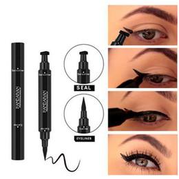 Wholesale Pencil Eyeliner Styles - Brand new Double Ended Black Eyeliner Liquid Pencil & Eyeliner Stamp Long Lasting Cat Eye Wing Style Eyes Makeup Eye Liner Stamps
