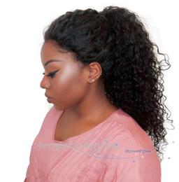 Pelucas de mirada rizada online-FZP Natural Look Kinky rizado pelucas llenas con la línea del cabello Onda profunda Sin cola Virgen brasileña Simulación Pelucas de cabello humano para mujeres negras