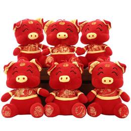 2019 Porco Ano Kawaii China Vestido Mascote Porco De Pelúcia em Tang Terno Brinquedos Macios Ano Novo Chinês Decoração Do Partido Do Presente Vermelho MRW7457A de