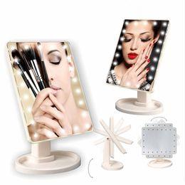 22 lumières LED maquillage miroir cosmétique de bureau portable compact éclairé vanité grand maquillage led miroirs blanc rose noir ? partir de fabricateur