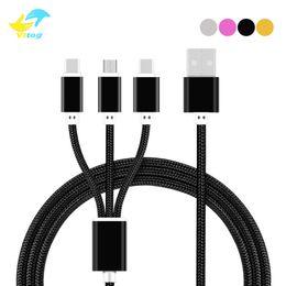 Câble de chargement en nylon en Ligne-3 en 1 câble Micro USB Type de charge c Nylon Mobile Phone Adaptateur Chargeur Câble pour Samsung Câbles