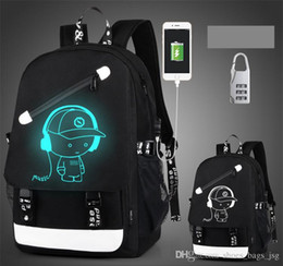 Wholesale computer anti theft - 2017 fashion students backpacks school bags USB Charge Luminous backpack computer bag Luminous with Anti-theft lock