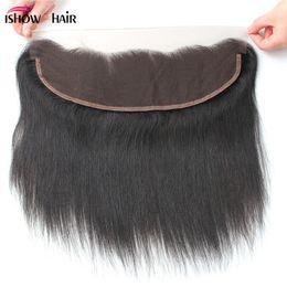 Vendre des cheveux vierges en Ligne-10A Premium Péruvienne Droite Vierge Cheveux 13 * 4 Suisse Malaisienne Dentelle Frontale Fermeture Vente Chaude Indienne Brésilienne Vierge Droite Dentelle Fermeture