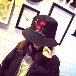 ed47c3ec1a55b Causey Flat Bucket Hat Fashion Flower embroidered Caps Gorros fisherman hat  women Summer 2018 Casual Sun Fishing Bucket Caps new