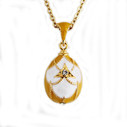 Wholesale Russian Eggs - geometric pattern Enamel Handmade Russian Easter Jewelry Brass gold plating Faberge Egg Pendant TF Charms Crystal Necklace Gift To Women