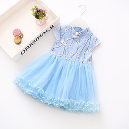 Wholesale Chinese Traditional Style Dress - Girl's Dresses Qipao Dress Traditional Chinese Embroidery Blossom Flower Pattern Stitching Dress Baby Cheongsam Kid Clothes for birthday
