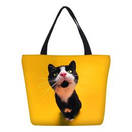 67d24d44e025 Canvas Handbags Women Fashion Cute Anime Cat Dog 3D Printing Shopping Bags  Foldable Beach Bag Ladies Casual Tote Shoulder Bag