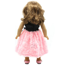 Wholesale coat dress red wool - Doll Accessories American Girl Dolls Clothes Black Bow Red Pink Dress Cosplay for 16- 18 inch Dolls Girl Gift X-48
