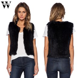 Wholesale wholesale faux fur vests - CharmDemon Female Black Faux Fur Women Short Vests Women Sleeveless Coat Jackets Outerwear Waistcoat High Quality dr14