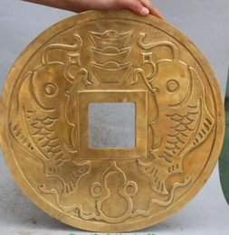 """Wholesale Antique Chinese Coins - 16"""" Chinese Brass Bronze Fengshui propitious Wealth Money Treasure Coin Statue"""