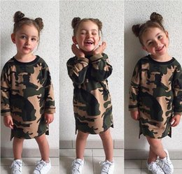Wholesale 4t Camouflage Clothes - INS Camouflage Girl's Dress Kids Clothing Summer Jumpsuit Creeping clothes Hot INS Baby girls Long sleeve Knee Length Dresses MC01