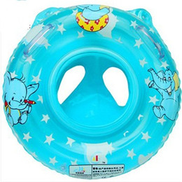 Wholesale health toys - PVC Health Soft Inflatable Baby Child Swimming Seat Double Handle Toys Thicken Float Ring Pool Two Colors 10 5gz dd