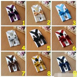 Wholesale Suspenders Bow Ties - 26 colors Kids Suspenders Bow Tie Set for 1-10T Baby Braces Elastic Y-back Boys Girls Suspenders accessories