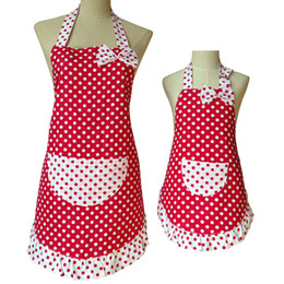 2020 tabliers à volants NOUVEAU Design Belle Mignon Bowknot Mère Et Fille Tablier Coton À Pois À Volants Tablier De Cuisine Avental De Cozinha Divertido tabliers à volants pas cher