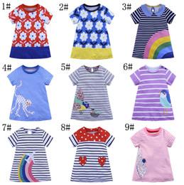 Vestido arco-íris meninas flor on-line-9 estilos menina summer dress flores rainbow impresso crianças flor dress cotton casual criança dress INS venda quente roupa do bebê