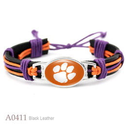 Wholesale Traditional Tiger - 10 Styles Adjustable Leather Bracelet College Of Clemson Tigers Team Bracelet Real Leather Bracelet Fans Gift