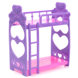 Wholesale Furniture Closets - Plastic Miniature Double Bed Toy Furniture For Dollhouse Mini Doll Dream Closet Playing House Toys Decoration Toys Gifts