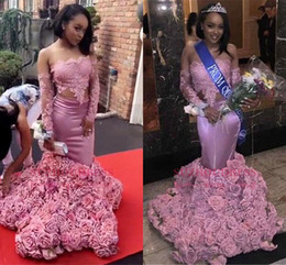 Wholesale Long Sleeved Back Zipper Dress - Black Girls African Long Sleeved Pink Lace Prom Dresses 2018 3D Flowers Roses Bottom Off The Shoulder Mermaid Evening Gowns Sexy BA8120