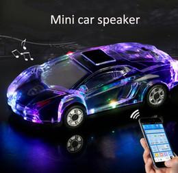 Wholesale Car Audio Mini Amplifiers - Portable Bluetooth Wieless Speaker Colorful Crystal LED Light Mini Car Shape Amplifier Loudspeaker Support TF FM MP3 Music Player MIS184