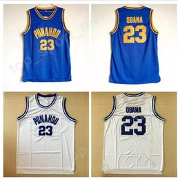 Wholesale color white jersey basketball - Punahou 23 Barack Obama Jersey Men High School College Obama Basketball Jerseys Cheap Team Blue Color White Away Breathable For Sport Fans