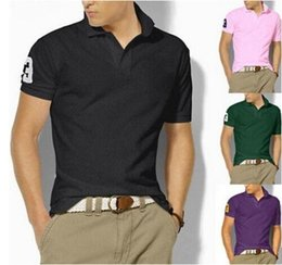 Wholesale Purple Ponies - 2018 summer embroidery Horse Polo Shirts man 100% cotton polo shirts Men Short Sleeve Casual Shirts Man's Solid Pony Shirt Tee