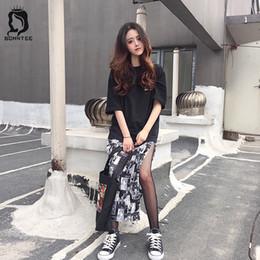 karikaturen koreanische schüler Rabatt Röcke Ulzzang Retro lose elastische hohe Taille Mode Frauen Rock Harajuku Schule Student Korean BF Stil Damen Cartoon gedruckt