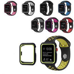 Argentina Banda de reloj de silicona para Apple Watch 38 / 42mm 40 / 44mm Banda de correa Funda protectora para iWatch 1 2 3 4 Serie Banda deportiva con lazos de agujero Suministro
