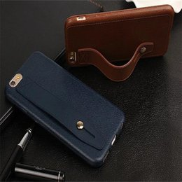Wholesale Iphone Strap Holder - Wrist Strap Mobile Shell With Phone Holder Leather Like Phone Case For IPhone X 8 7Plus 6S Anti Shock
