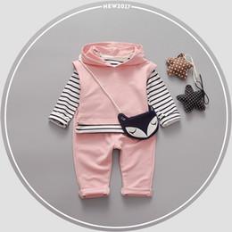 Wholesale Bebe T Shirts - Spring Baby Cotton Striped T-shirt Tops + Hooded Waistcoat + Casual Pants Girls Sets Kids 3Pcs Suits Tracksuits roupas de bebe