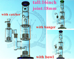 Wholesale Canada Water - Rushed Top Fashion free Type Usa,canada 14.4mm 18 for Cm 16 Inches Double Barrel Recycler Bong High blue color Glass Water Oil Rig Bongs