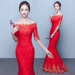 2019 robe de mariée rouge Lady Bateau robes De Soirée Sirène Etage Longueur Satin Robe De Soirée Rouge Chinois QIPAO Robe De Bal Mariée Robe Femmes Robe De Soirée D35 robe de mariée rouge pas cher
