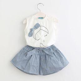 Wholesale Plaid Fashion Briefs - Fashion Baby girl clothing Outfits White T-Shirts Sleeveless+ Bow Plaid shorts 100%cotton 2pcs set wholesale 3T-7T Korean