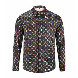Wholesale Printed Flannel Shirt - 2018 Italy ashion design luxury brand men's Casual long sleeve shirt fashion designer Mixed color 3D printing embroidery shirt medusa shirts